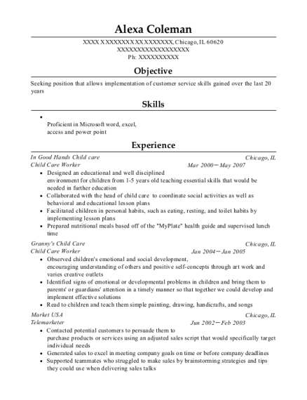 Child Care Worker resume template Illinois