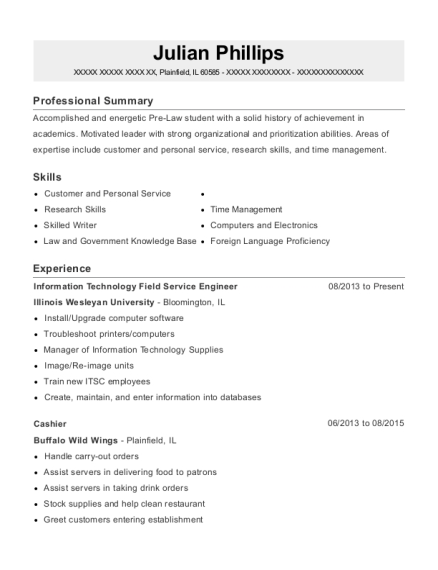 Information Technology Field Service Engineer resume example Illinois