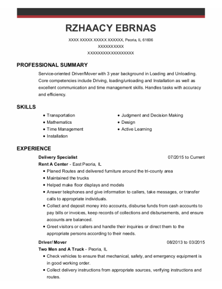 Delivery Specialist resume example Illinois