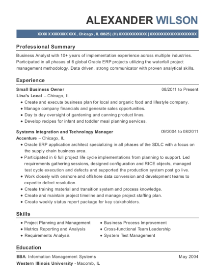 Small Business Owner resume sample Illinois