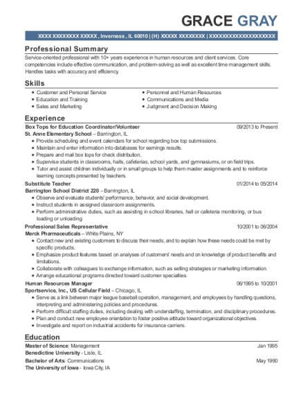 Box Tops for Education Coordinator resume sample Illinois