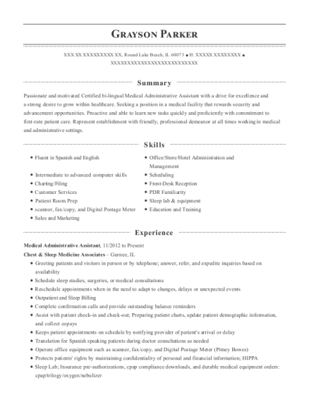 Medical Administrative Assistant resume template Illinois