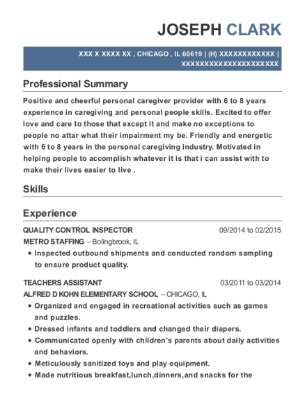 QUALITY CONTROL INSPECTOR resume example Illinois