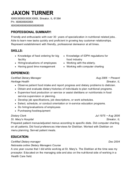 Certified Dietary Manager resume format Illinois