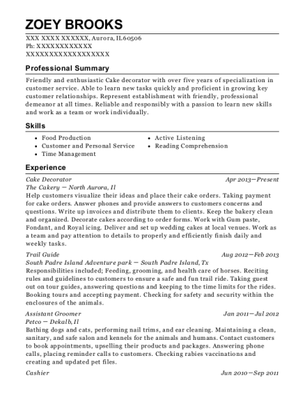 Cake Decorator resume example Illinois
