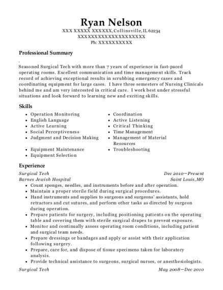 Surgical Tech resume format Illinois