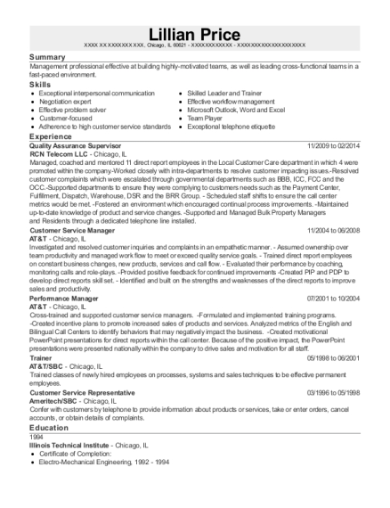 Quality Assurance Supervisor resume format Illinois