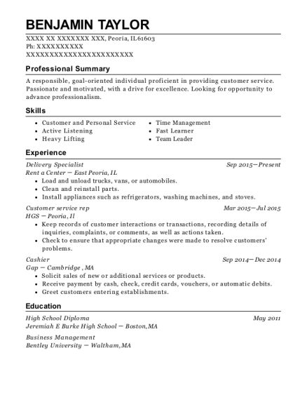 Delivery Specialist resume sample Illinois