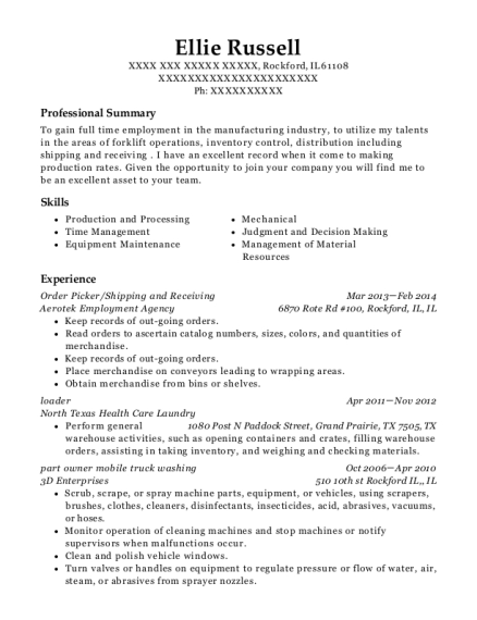 Order Picker resume format Illinois