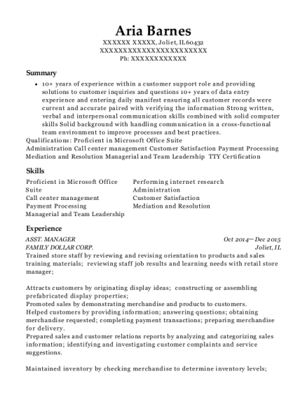 ASST MANAGER resume template Illinois