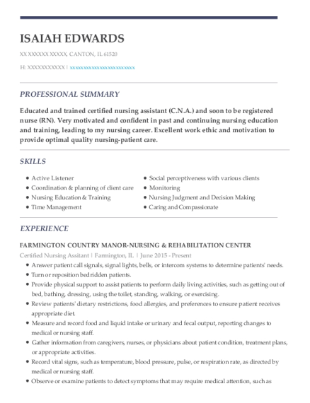 Certified Nursing Assitant resume format Illinois