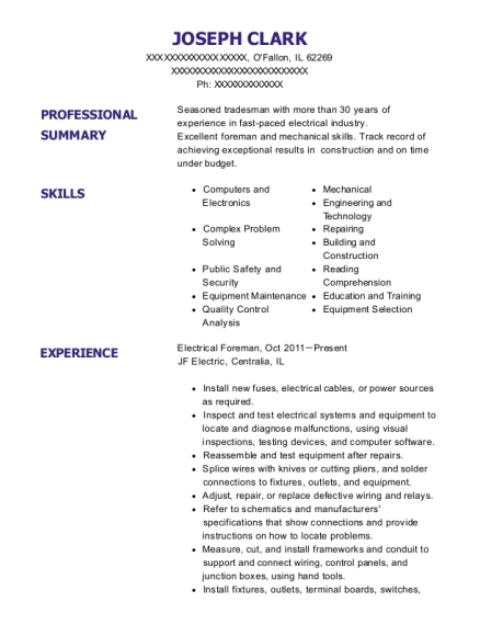 Electrical Foreman resume sample Illinois