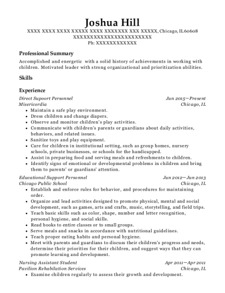Direct Supoort Personnel resume sample Illinois