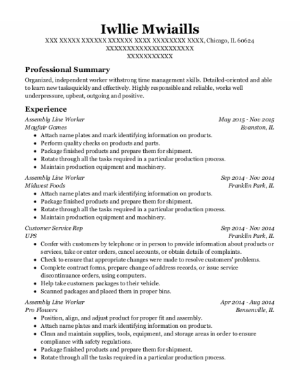 Assembly Line Worker resume sample Illinois