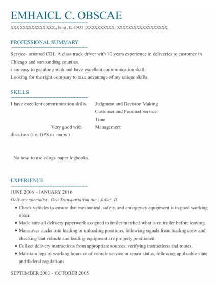 Delivery specialist resume format Illinois