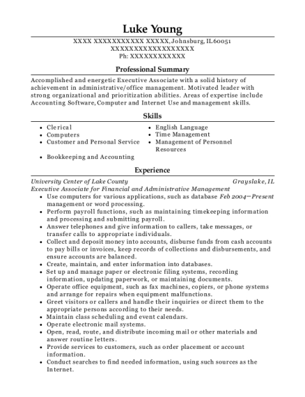 Executive Associate for Financial and Administrative Management resume sample Illinois