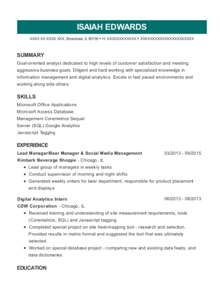Lead Manager resume example Illinois