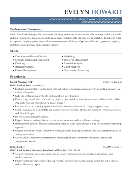 Branch Manager AVP resume format Illinois