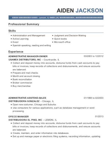 ADMINISTRATIVE MANAGER OWNER resume template Illinois