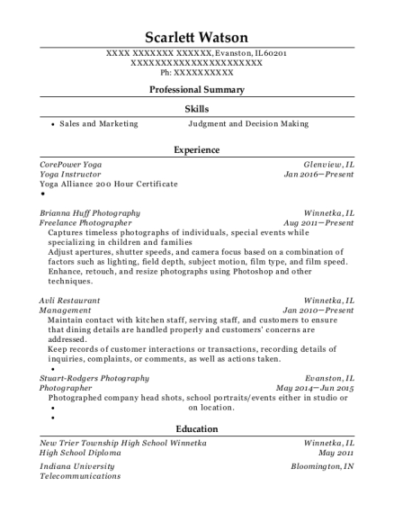 Yoga Instructor resume sample Illinois