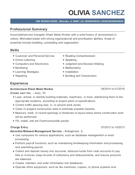 Architectural Sheet Metal Worker resume format Illinois