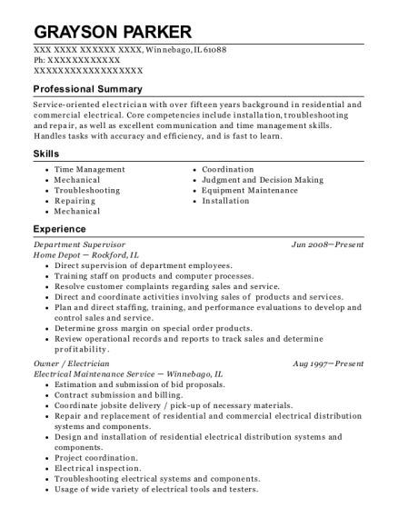 Department Supervisor resume template Illinois