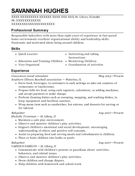 Concession stand attendant resume format Illinois