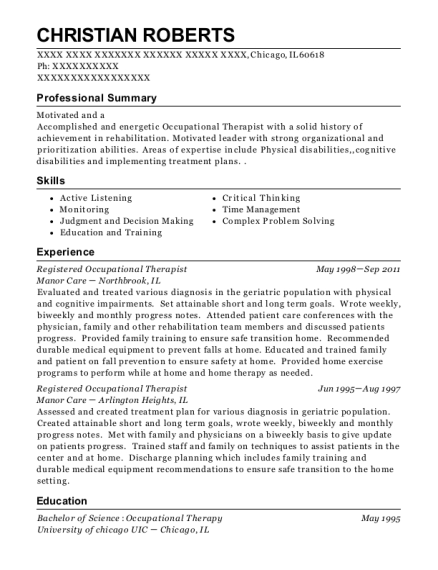 Registered Occupational Therapist resume example Illinois