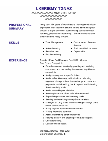 Assistant Front End Manager resume template Illinois