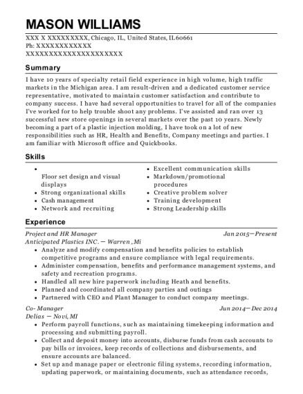 Project and HR Manager resume template Illinois