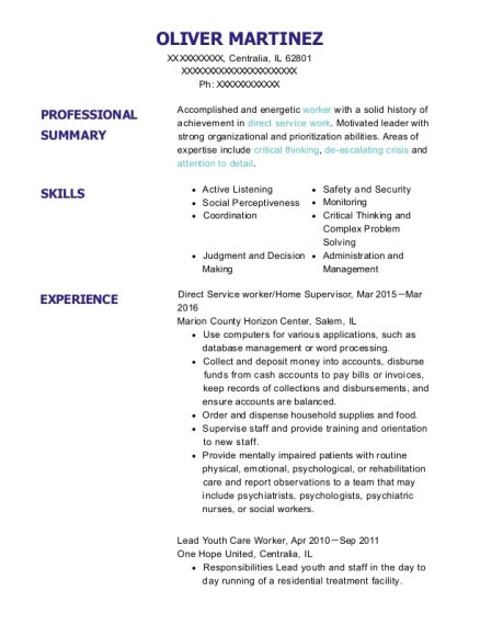 Direct Service worker resume format Illinois