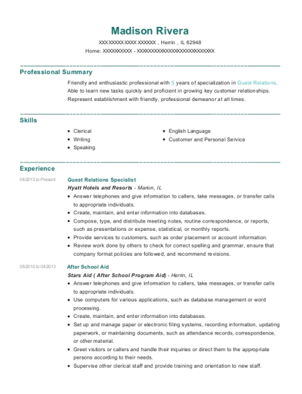 Guest Relations Specialist resume sample Illinois