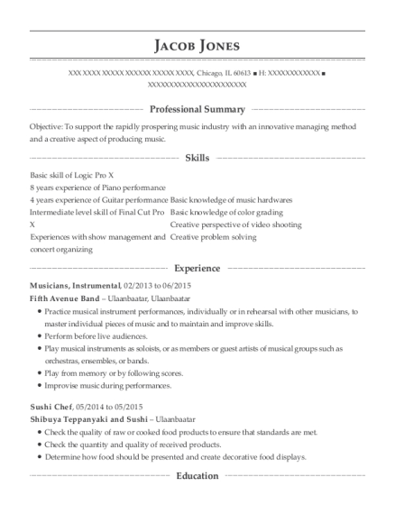 self musician resume sample
