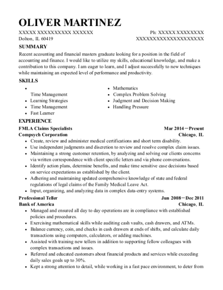 FMLA Claims Specialists resume template Illinois