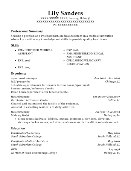Apartment Manager resume template Illinois