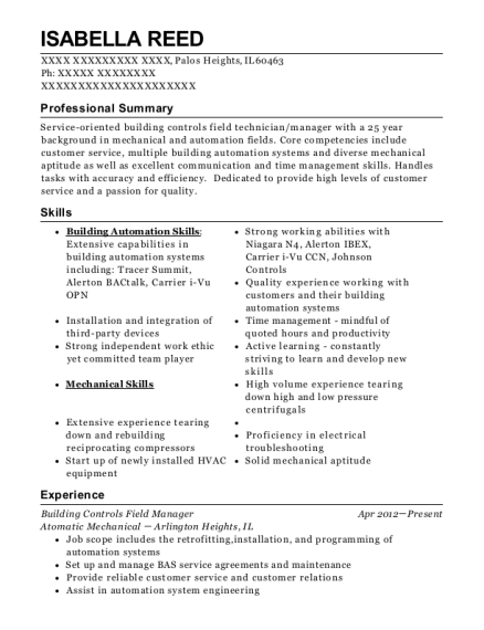 Building Controls Field Manager resume template Illinois