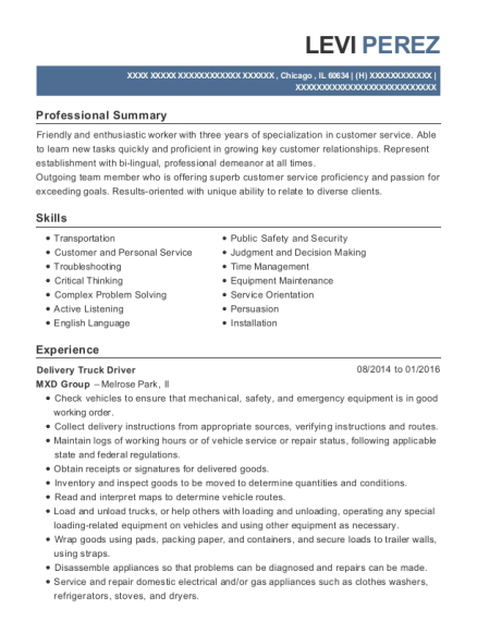 Delivery Truck Driver resume format Illinois