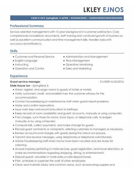 Guest service manager resume template Illinois