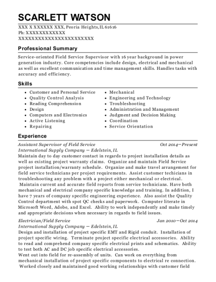 Assistant Supervisor of Field Service resume template Illinois