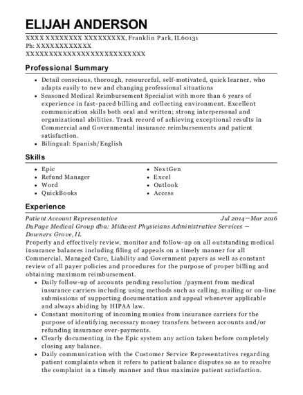 Patient Account Representative resume template Illinois