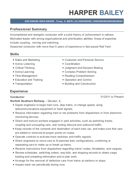 Conductor resume format Illinois