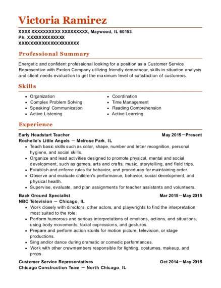 Early Headstart Teacher resume template Illinois