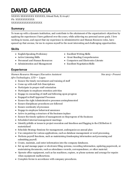 Human Resource Manager resume sample Illinois