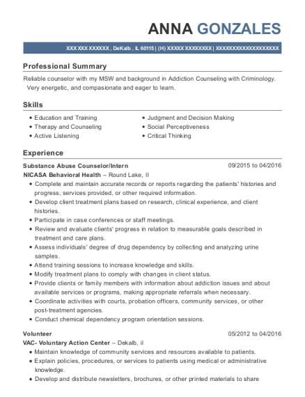 Substance Abuse Counselor resume sample Illinois