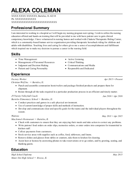 Factory Worker resume format Illinois