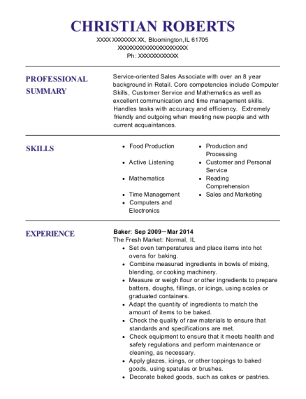 Baker resume template Illinois