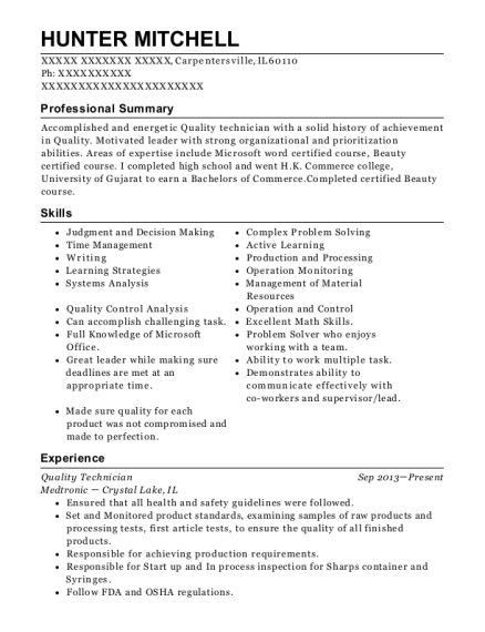 Quality Technician resume template Illinois