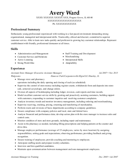 Assistant Store Manager resume template Illinois