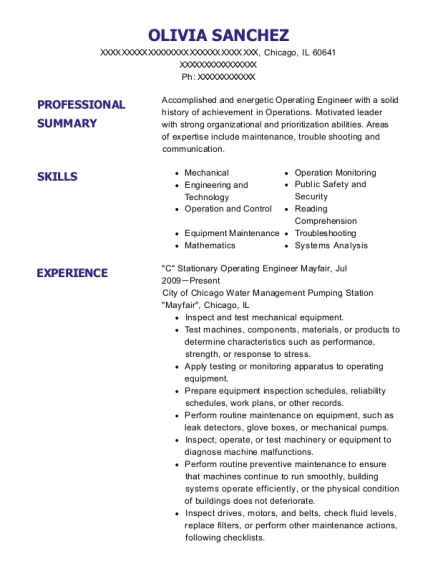 C Stationary Operating Engineer Mayfair resume format Illinois