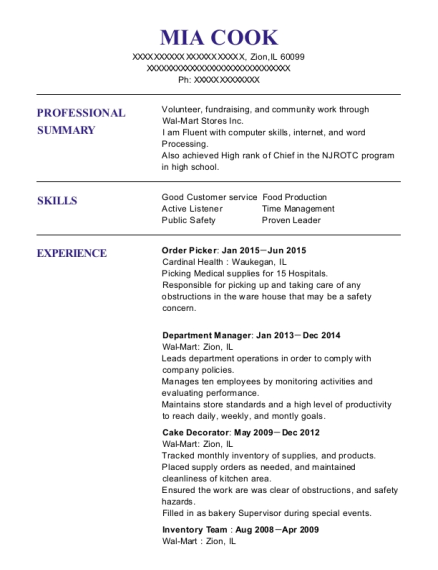 Order Picker resume template Illinois